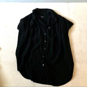 Madewell Central Drapey Popover Shirt Black XS